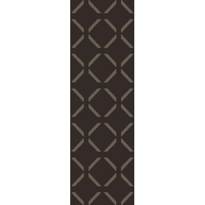 Hand-Woven Chocolate Area Rug Rug Size: Runner 26 x 8