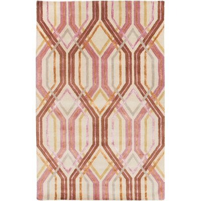 Clariandra Carnation/Rust Area Rug Rug Size: Rectangle 5 x 8
