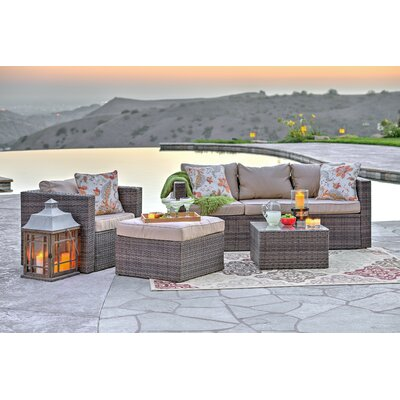 Rister 4 Piece Sectional Seating Group with Cushion Frame Finish: Brown