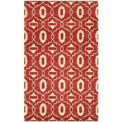 Carrion Hand-Tufted Red/Ivory Area Rug Rug Size: 8 x 10
