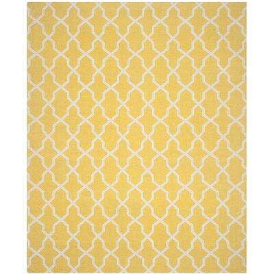 Miranda Hand-Loomed Yellow/Ivory Area Rug Rug Size: Rectangle 8 x 10