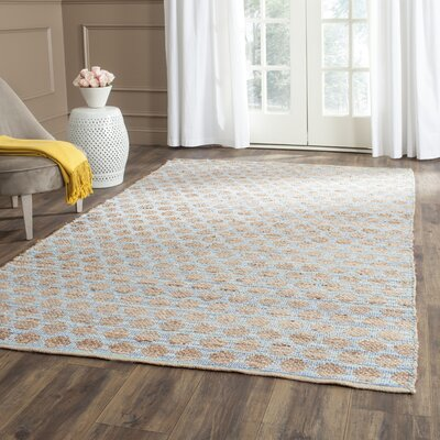 Pluto Hand-Woven Blue/Natural Area Rug Rug Size: Rectangle 10 x 14