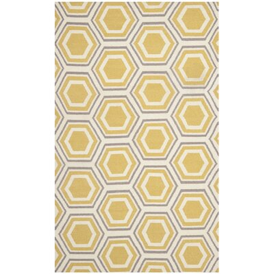Cassiopeia Hand Woven Ivory/Yellow Area Rug Rug Size: Rectangle 9 x 12