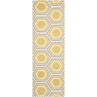 Cassiopeia Hand Woven Ivory/Yellow Area Rug Rug Size: Runner 26 x 6