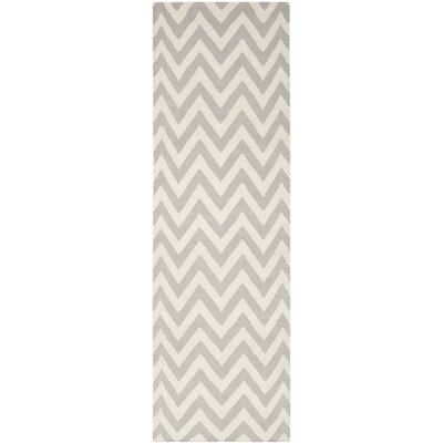 Cassiopeia Handmade Grey / Ivory Area Rug Rug Size: Runner 26 x 10