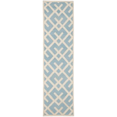 Cassiopeia Handmade Light Blue/Ivory Area Rug Rug Size: Runner 26 x 8