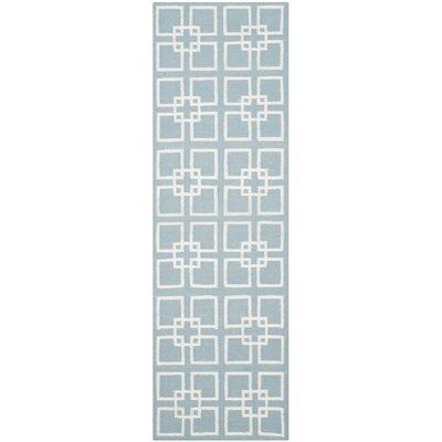 Square Dance Geyser Blue Area Rug Rug Size: Runner 23 x 7