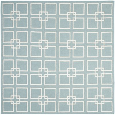 Square Dance Geyser Blue Area Rug Rug Size: Square 7' x 7'