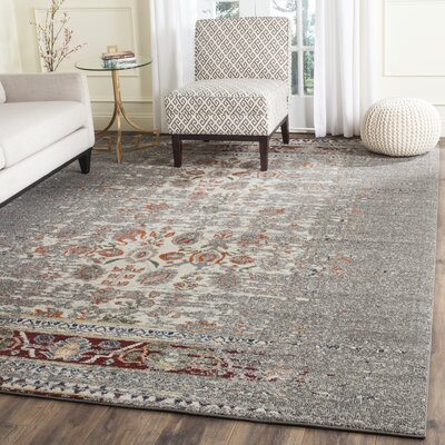 Hydra Grey / Ivory Area Rug Rug Size: Rectangle 3 x 5