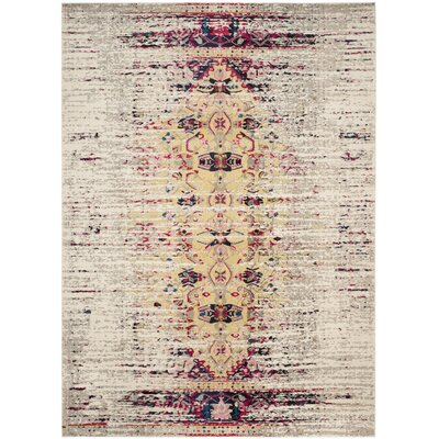 Amico Ivory / Pink Area Rug Rug Size: Rectangle 51 x 77