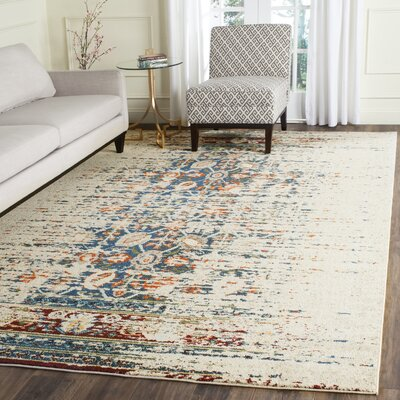 Hydra Ivory/Blue Area Rug Rug Size: Rectangle 4 x 57