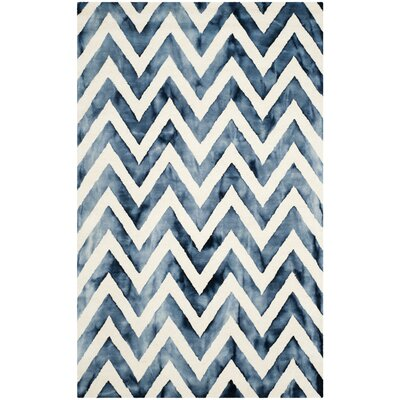 Crux Hand-Tufted Ivory & Navy Area Rug Rug Size: Rectangle 8 x 10