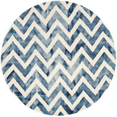 Crux Hand-Tufted Ivory & Navy Area Rug Rug Size: Round 7'