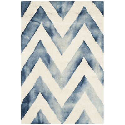 Crux Hand-Tufted Ivory & Navy Area Rug Rug Size: Rectangle 2 x 3