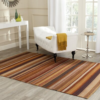 Carper Hand-Woven Rust Striped Area Rug Rug Size: Rectangle 9 x 12