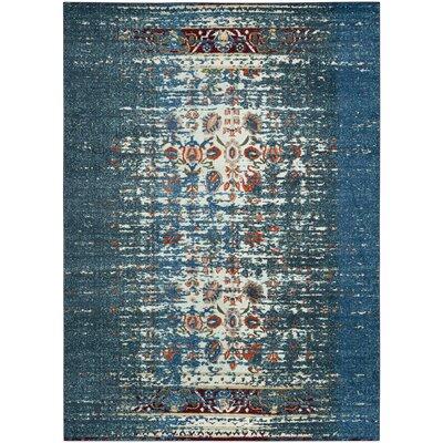 Vanarsdale Blue & Ivory Area Rug Rug Size: 51 x 77