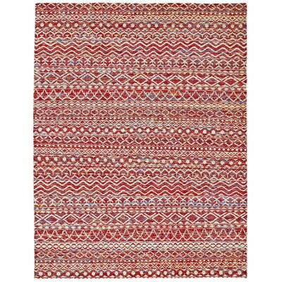 Vojtech Hand-Knotted Crimson Area Rug Rug Size: Rectangle 96 x 136