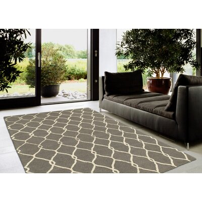 Janet Hand-Hooked Gray/Ivory Area Rug Rug Size: 5 x 79