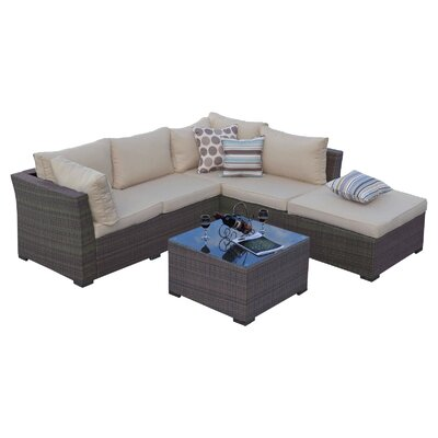 Fennia 5 Piece Seating Group with Cushion Finish: Natural Rustic Light