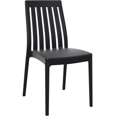 Dionysus Stacking Patio Dining Chair (Set of 2) Finish: Black