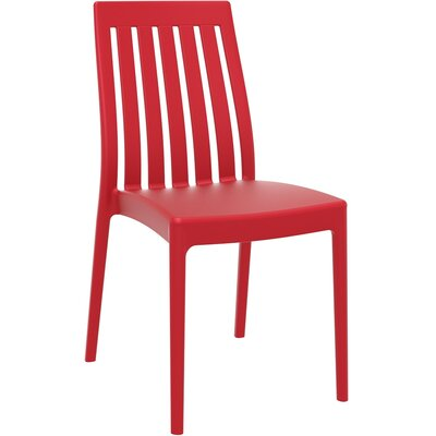 Dionysus Stacking Patio Dining Chair (Set of 2) Finish: Red