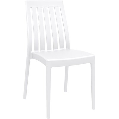 Dionysus Stacking Patio Dining Chair (Set of 2) Finish: White