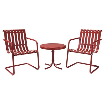 Erato Aidan 3 Piece Lounge Seating Group Finish: Red