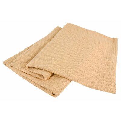 All-Natural Cotton Basket-Woven Blanket Color: Camel, Size: Full/Queen