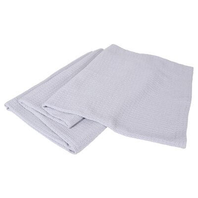 All-Natural Cotton Basket-Woven Blanket Color: Grey, Size: Full/Queen