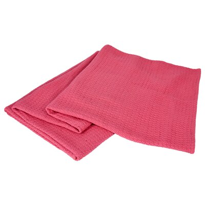 All-Natural Cotton Basket-Woven Blanket Color: Coral, Size: Full/Queen