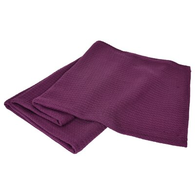 All-Natural Cotton Basket-Woven Blanket Color: Plum, Size: Full/Queen