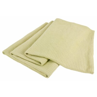 All-Natural Cotton Basket-Woven Blanket Size: Twin, Color: Sage