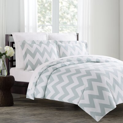 Dion Duvet Cover Set Size: King, Color: Silver Blue