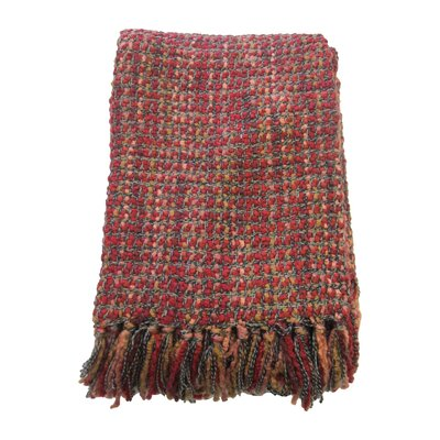 Judith Woven Throw Blanket Color: Red