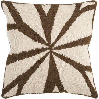 Rametta Throw Pillow Size: 18 H x 18 W x 4 D, Color: Brown/Ivory, Filler: Down