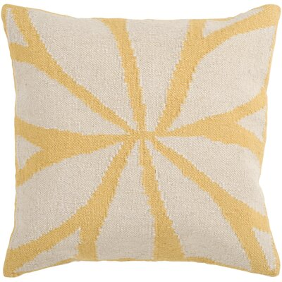 Evaristus Throw Pillow Size: 22 H x 22 W x 4 D, Color: Yellow/Ivory, Filler: Down