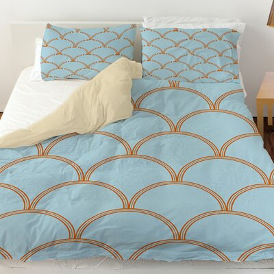 Archey Duvet Cover Color: Blue / Orange, Size: Queen