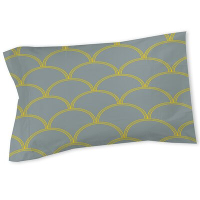 Brendan Sham Size: Queen/King, Color: Slate / Yellow
