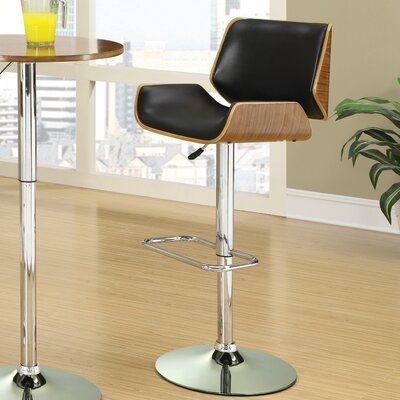 Sabella Adjustable Height Swivel Bar Stool Upholstery: Black