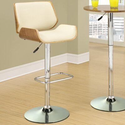 Sabella Adjustable Height Swivel Bar Stool Upholstery: Cream