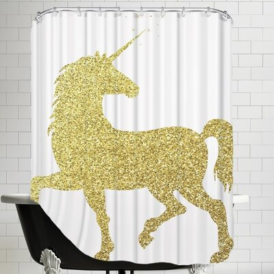 Unicorn Shower Curtain Color: Gold Glitter