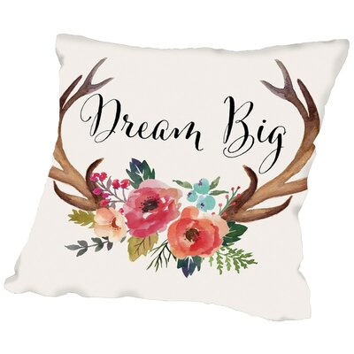 Panthoides Dream Big Antlers C Throw Pillow Size: 16