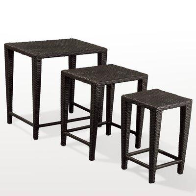 Kinslow 3 Piece Wicker Nesting Table Set Finish: Black