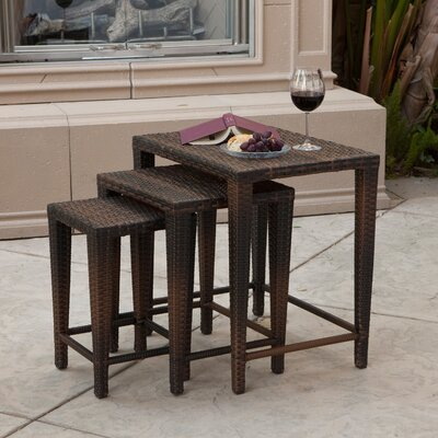 Kinslow 3 Piece Wicker Nesting Table Set Finish: Brown