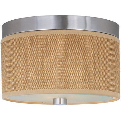 Denning 2-Light Fluorescent Flush Mount Color / Size / Shade Material: Satin Nickel / 10 / Grass Cloth