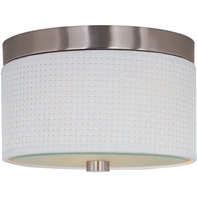 Denning 2-Light Fluorescent Flush Mount Finish / Size / Shade Material: Satin Nickel / 10 / White Weave