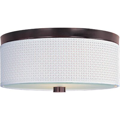 Denning 2-Light Fluorescent Flush Mount Color / Size / Shade Material: Oil Rubbed Bronze / 10 / White Weave