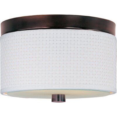 Denning 2-Light Fluorescent Flush Mount Color / Size / Shade Material: Oil Rubbed Bronze / 14 / White Weave