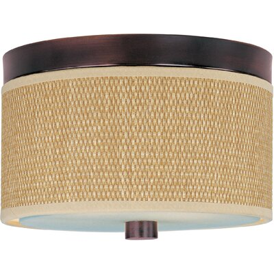 Denning 2-Light Fluorescent Flush Mount Finish / Size / Shade Material: Oil Rubbed Bronze / 14 / Grass Cloth