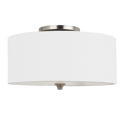 Onasander 2-Light Flush Mount Finish: Brushed Nickel, Bulb Type: Incandescent A19 60W